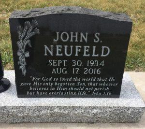 John S Neufeld, Randolph CMC Cemetery